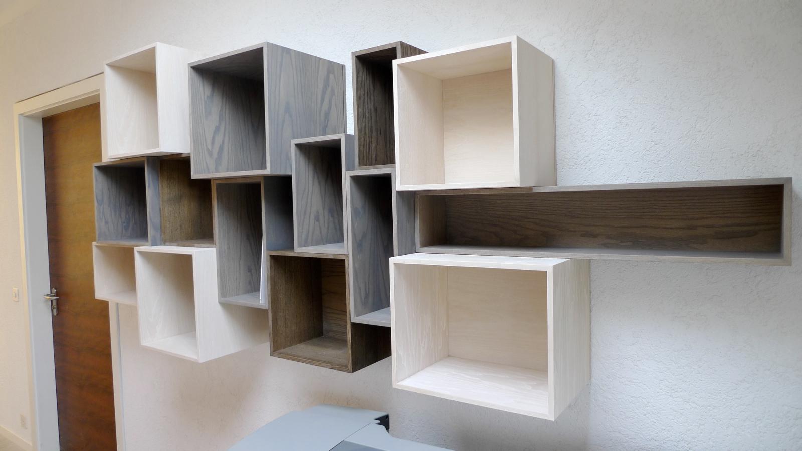 biblioth que modulaire suspendue meyer suter menuiserie. Black Bedroom Furniture Sets. Home Design Ideas